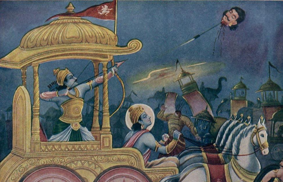 Arjuna Kills Jaydhratha with Pashupatastra