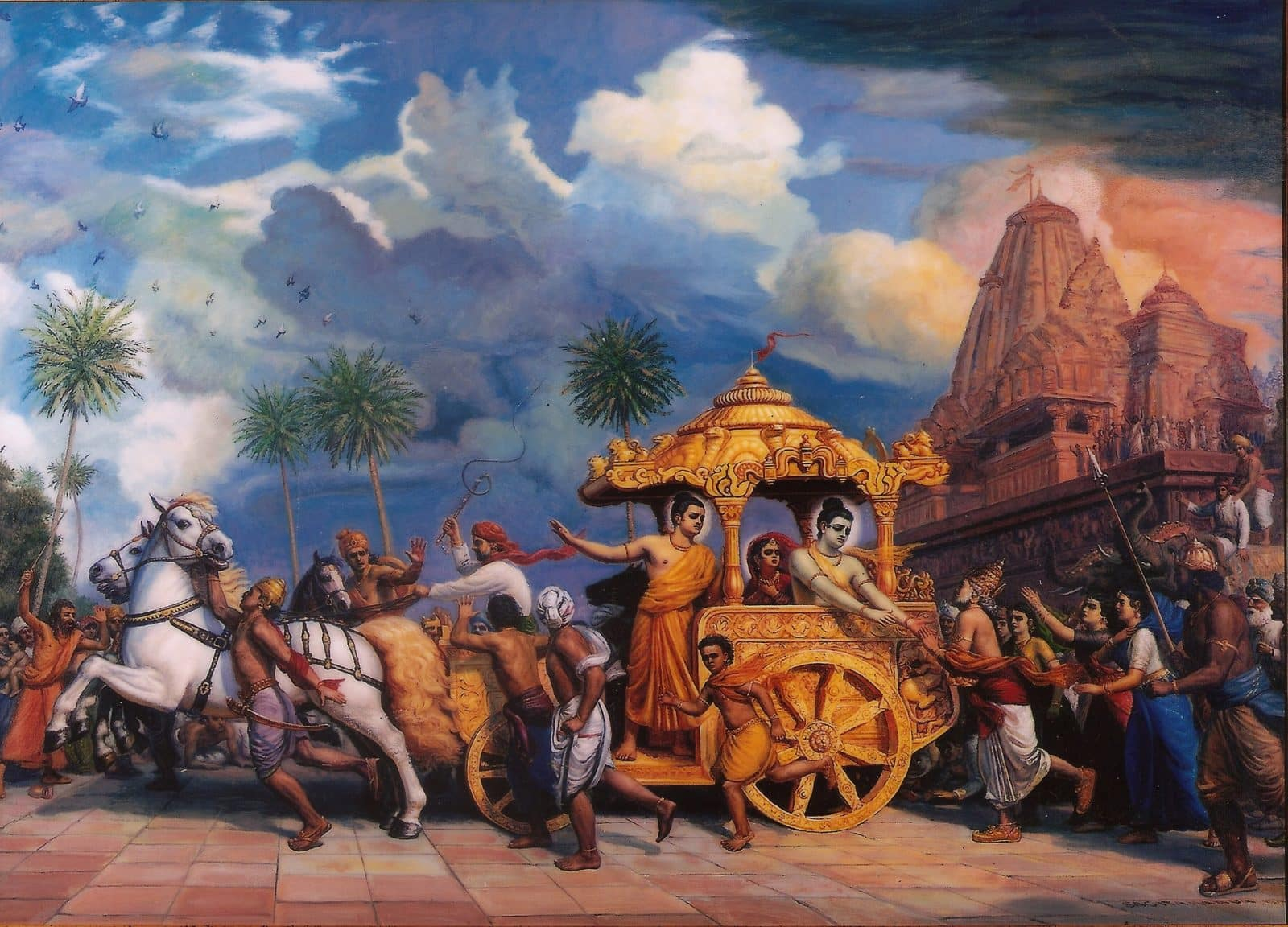 Lord Rama, Lakshmana and Sita leaving Ayodhya and the grief stricken King Dasarath following behind.