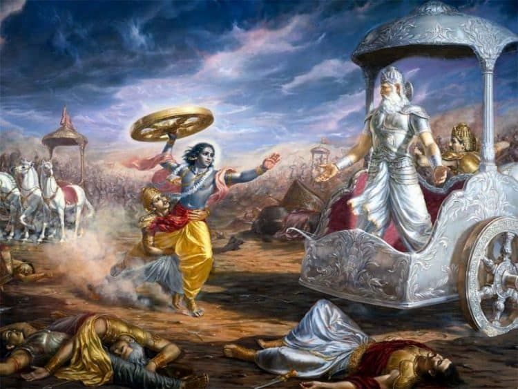 krishna trying to kill bhisma in mahabharata
