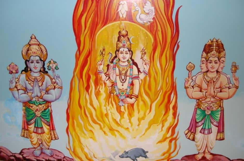 Shiva manifesting himself as a column of the fire in the battlefield