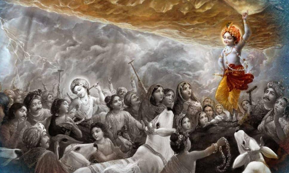 Lord Krishna Lifting Govardan Parvat