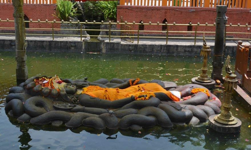 Budhanilkantha Temple of Sleeping Vishnu in Nepal