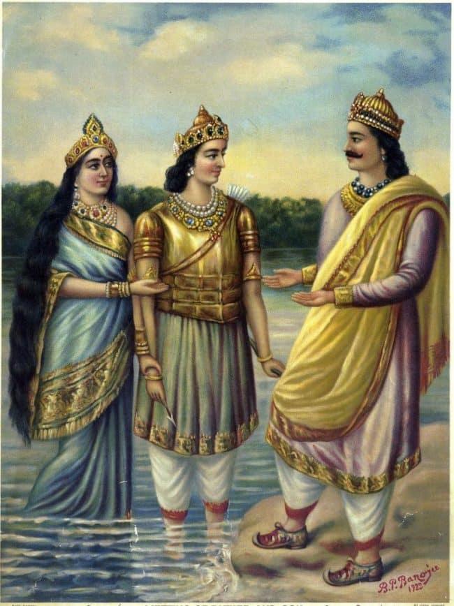 presentation by Ganga of her son Devavrata (the future Bhishma Pitamah) to his father, Shantanu.