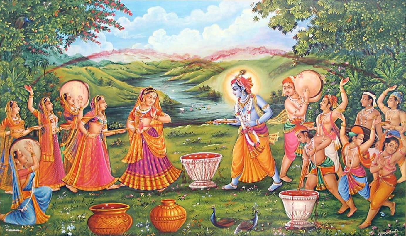 Krishna and Radha Playing Holi
