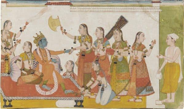 Krishna welcomes Sudama