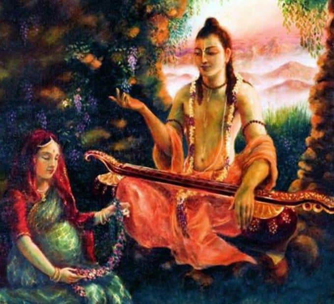 Narada Muni teaching Prahlad in womb of his mother, Queen Kayadhu
