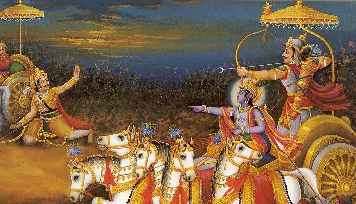 Arjuna Karna and Krishna