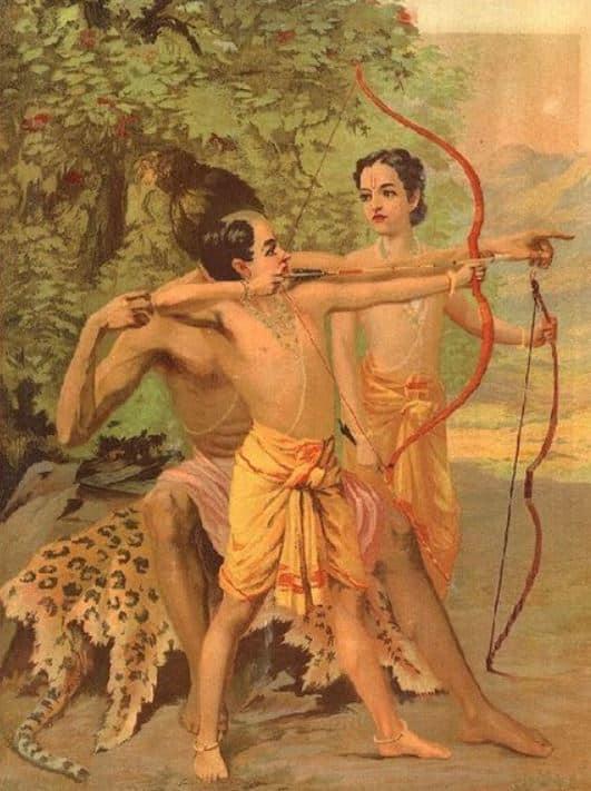Vishwamitra giving Archery lessons to Rama and Lakshmana