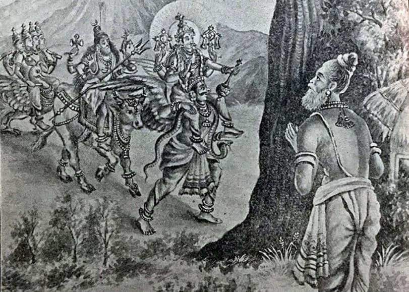 Brahma, Vishnu and Shiva appear in front of Saint Atri