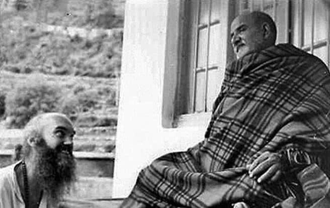 Neem Karoli Baba with Baba Ram Dass